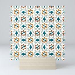 Geometric Pattern, oriental style (nature color set)  traditional morocco tile pattern Mini Art Print