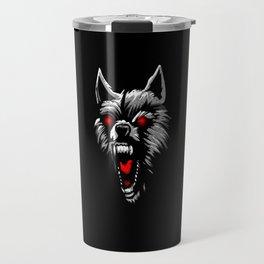 Angry wolf head red eyes Travel Mug