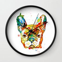 Colorful french bulldog Wall Clock