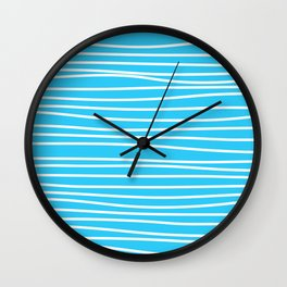 Simply small aqua and white handrawn stripes - horizontal - for your summer Wall Clock