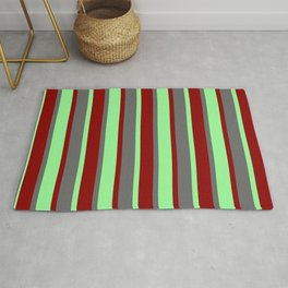 Dark Red, Green, and Dim Gray Colored Lines Pattern Rug