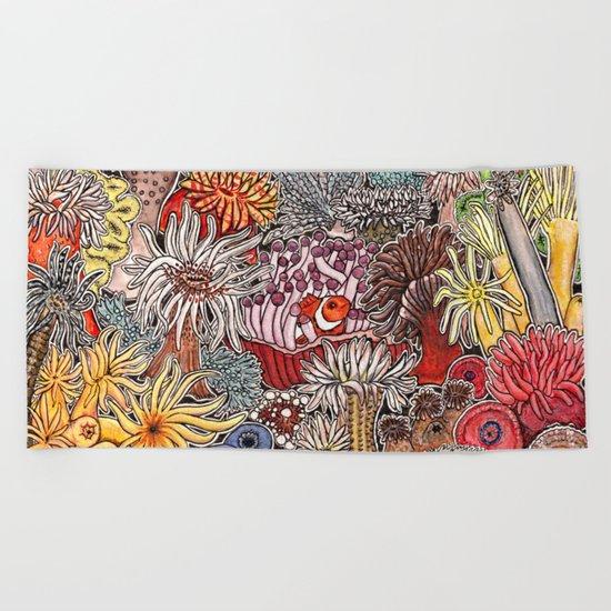 Clown fish and Sea anemones Beach Towel