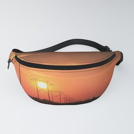 Kansas Country Power Line Sunset Fanny Pack