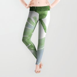 Tropical Leaves Green And Blue Leggings