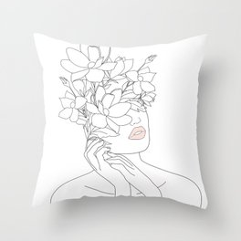 Minimal Line Art Woman with Magnolia Throw Pillow