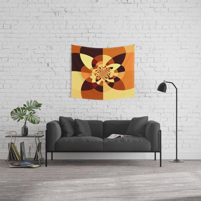 Orange Brown Kaliedoscope Wall Tapestry