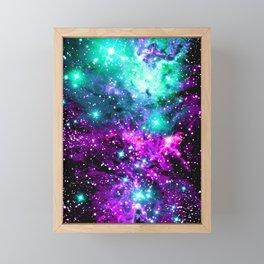 Fox Fur Nebula Teal Pink Purple Framed Mini Art Print