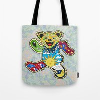 grateful dead Tote Bags featuring Grateful Dead (Vector Art) by Troy Arthur Graphics