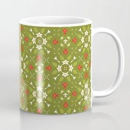 Green and Red Festive Winter Star Ornamental Coffee Mug