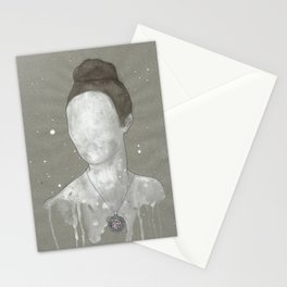 girl with kütahya porcelain çini necklace Stationery Cards