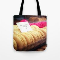 macaron Tote Bags featuring Macaron by Emily Werboff