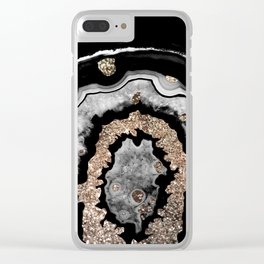 Gray Black White Agate with Gold Glitter on Black #1 #gem #decor #art #society6 Clear iPhone Case