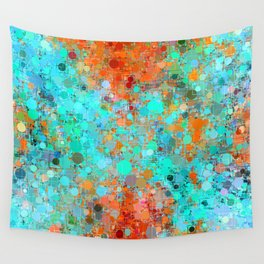 psychedelic geometric circle pattern and square pattern abstract in orange and blue Wall Tapestry