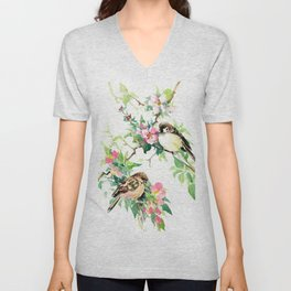 Sparrows and Apple Blossom, spring floral bird art Unisex V-Neck