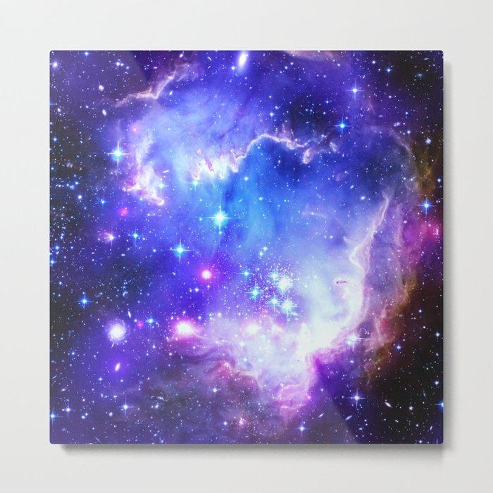 Galaxy Nebula Blue Metal Print