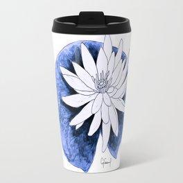 WHITE & BLUE LILY FLOWER ILLUSTRATION Travel Mug