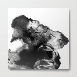 Black & White Watercolor Scape Metal Print