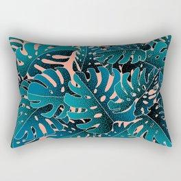 Monstera MintPink Rectangular Pillow