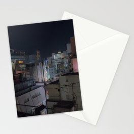 City urban downtown night Stationery Cards