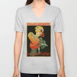 Belle Epoque vintage poster, Folies Bergere, La Loie Fuller Unisex V-Neck