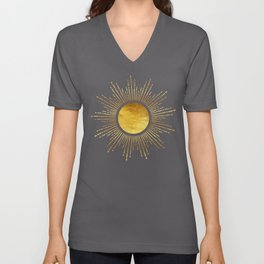 Golden Sunburst Starburst White Hot Unisex V-Neck