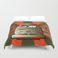 the fault Duvet Covers featuring Fault 45 01 (its not his fault) by Face Leakage