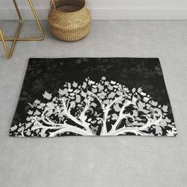The Zen Tree - White on Black Rug
