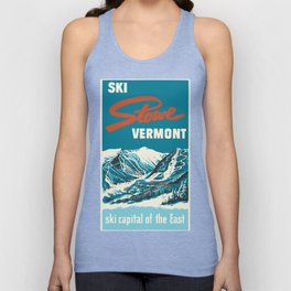 Stowe, Vermont Vintage Ski Poster Unisex Tank Top