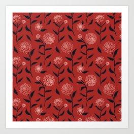 Autumn Dahlias Red&Pink&Black Art Print