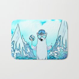 Polar bear on the surf board Bath Mat