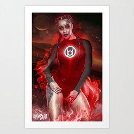 Red Cardi Lantern Art Print