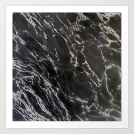 MIDNIGHT BLACK MARBLE Art Print
