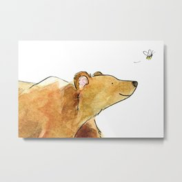 Bear & Bee Watercolor Metal Print