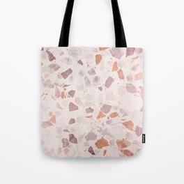 Vintage coral pastel pink white elegant marble Tote Bag
