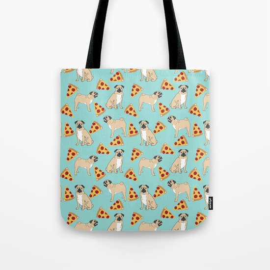 Pug Pizza Party cute pug dog owner gifts food pet gifts puggle puppy dog pet portrait trendy  Tote Bag