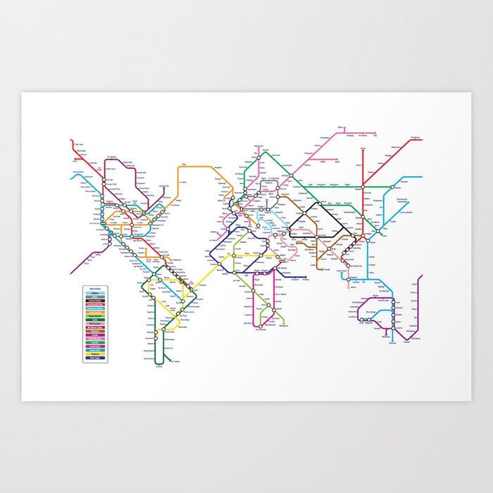World metro subway map art print by artpause society6 world metro subway map art print gumiabroncs Choice Image