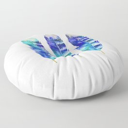 Blue Turquoise Watercolor Feather Art Floor Pillow