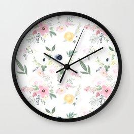 In Bloom Modern Floral Pattern Wall Clock