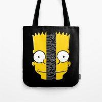 joy division Tote Bags featuring Bart Division by alboradas