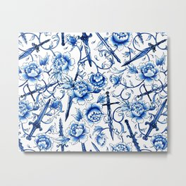 Floral Swords Blue China Metal Print