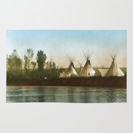 Crow Indian Camp on the Rivers Edge Rug