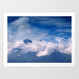 Mountain Peak with Clouds Art Print