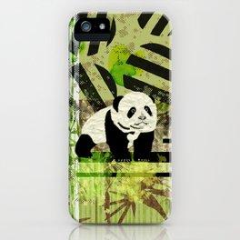 Panda Cub  Abstract vintage pop art composition iPhone Case