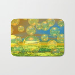 Golden Days, Abstract Yellow and Azure Tranquility Bath Mat