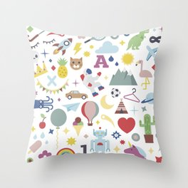 Kids Pattern Party Flat Throw Pillow