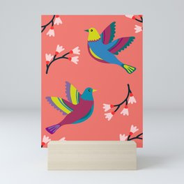 Flying birds on living coral background - pattern inspired by polish folklore Mini Art Print