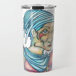 Blue Hat Woman Travel Mug