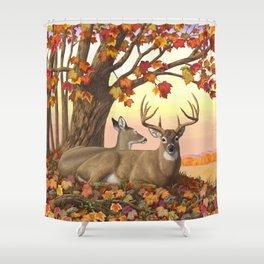 Hilltop Retreat Whitetail Deer Painting Shower Curtain
