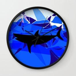 Shark art Geometric art Blue sea ocean art Triangles art Wall Clock