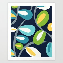 Abstract Leaves in Blue Art Print